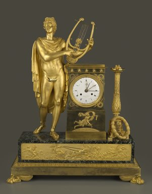 Henri Voison (French, active early 19th century). Empire Clock, ca. 1800. Gilded bronze, marble, enamel, 33 1/2 x 26 x 9 1/4 in. (8.5 x 66.0 x 23.2 cm). Brooklyn Museum, Gift of Mrs. Frederick A. Yenni, 39.438a. Creative Commons-BY