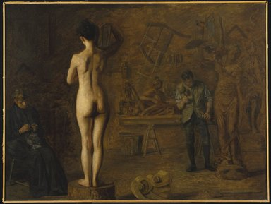 Thomas Eakins (American, 1844-1916). William Rush Carving His Allegorical Figure of the Schuylkill River, 1908. Oil on canvas, 35 15/16 x 47 13/16 in. (91.3 x 121.5 cm). Brooklyn Museum, Dick S. Ramsay Fund, 39.461
