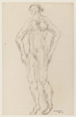 Abraham Walkowitz (American, born Russia, 1878-1965). Nude Standing with Hands on Hips, 1906. Charcoal on paper, Sheet: 12 1/2 x 8 in. (31.8 x 20.3 cm). Brooklyn Museum, Gift of the artist, 39.478