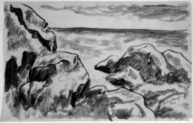 Abraham Walkowitz (American, born Siberia, 1878-1965). Rocky Coast, 1904. Ink wash on paper, Sheet: 11 x 17 1/8 in. (27.9 x 43.5 cm). Brooklyn Museum, Gift of the artist, 39.482