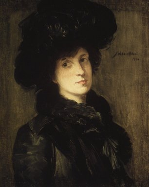 Julian Alden Weir (American, 1852-1919). Girl in Black, 1910. Oil on canvas, 25 5/8 x 20 5/16 in. (65.1 x 51.6 cm). Brooklyn Museum, Gift of Frank L. Babbott, 39.52
