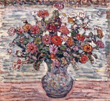 Maurice Brazil Prendergast (American, 1858-1924). Flowers in a Vase (Zinnias), ca. 1910-1913. Oil on canvas, 23 1/4 x 25 3/16 in. (59.1 x 64 cm). Brooklyn Museum, Gift of Frank L. Babbott, 39.53
