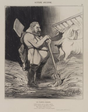 Honoré Daumier (French, 1808-1879). Les  Écuries d'Augias, September 25, 1842. Lithograph on wove paper, Image: 10 3/4 x 8 3/16 in. (27.3 x 20.8 cm). Brooklyn Museum, Carll H. de Silver Fund, 39.543
