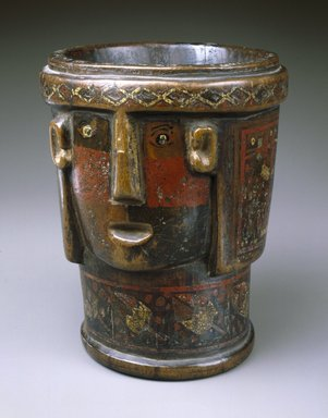 Kero Cup in Shape of Head, 17th-18th century. Wood, pigment inlay, 7 1/2 x 6 3/8 x 5 3/8 in. (19.1 x 16.2 x 13.7 cm). Brooklyn Museum, Museum Collection Fund, 39.563. Creative Commons-BY