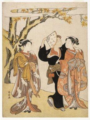 Suzuki Harunobu (Japanese, 1724-1770). Maple Leaf Viewing, ca. 1769. Woodblock color print, 11 x 8 3/16 in. (28 x 20.8 cm). Brooklyn Museum, Gift of Louis V. Ledoux, 39.568