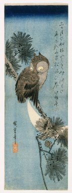 Utagawa Hiroshige (Ando) (Japanese, 1797-1858). Owl on a Pine Branch, ca. 1833. Woodblock color print, Sheet: 14 11/16 x 5 1/16 in. (37.3 x 12.9 cm). Brooklyn Museum, Frank L. Babbott Fund, 39.578