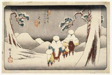 Utagawa Hiroshige (Ando) (Japanese, 1797-1858). Oi, from Sixty-nine Stations on the Kisokaido Highway (Kisokaido rokujukyu tsugi no uchi), ca. 1843. Woodblock color print, Sheet: 9 3/16 x 14 5/8 in. (24.8 x 37.3 cm). Brooklyn Museum, Frank L. Babbott Fund, 39.580
