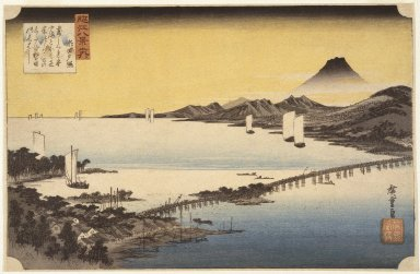 Utagawa Hiroshige (Ando) (Japanese, 1797-1858). Evening Glow at Sea (Seta no Sekisho), from Eight Views of the Province Omi (Omi Hakkei), ca. 1834. Woodblock color print, Sheet: 9 1/8 x 14 1/16 in. (23.1 x 35.6 cm). Brooklyn Museum, Frank L. Babbott Fund, 39.585