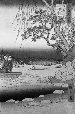 Utagawa Hiroshige (Ando) (Japanese, 1797-1858). Oumayagashi, No. 105 from One Hundred Famous Views of Edo, December, 1857. Woodblock color print, sheet: 14 x 9 3/4 in.  (35.5 x 24.7 cm). Brooklyn Museum, Gift of George Tuttle, 39.587