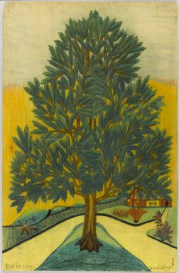 Israel Litwak (American, 1867-1960). Tree of Life, 1938. Crayon and graphite on paper coated with shellac, Sheet: 34 1/4 x 22 1/4 in. (87 x 56.5 cm). Brooklyn Museum, Gift of the artist, 39.593. © Estate of Israel Litwak