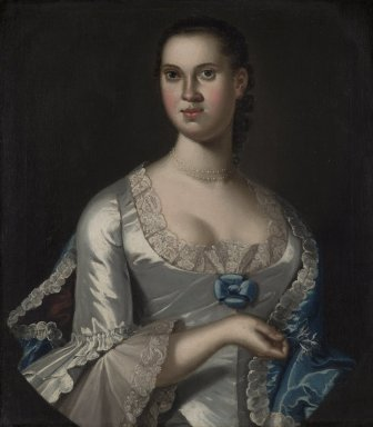 John Hesselius (American, 1728-1778). Mrs. Elizabeth Smith (née Elizabeth Chew), 1762. Oil on canvas, 28 1/4 x 25 1/8 in. (71.8 x 63.8 cm). Brooklyn Museum, Dick S. Ramsay Fund, 39.609