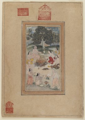 Indian. Sadhus Gathered Around a Fire, ca. 1600. Opaque watercolor on paper, sheet: 15 15/16 x 11 3/16 in.  (40.5 x 28.4 cm). Brooklyn Museum, By exchange, 39.85