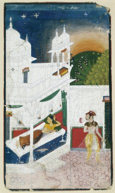 Indian. Lalita Ragini, Page from a dispersed Ragamala Series, ca. 1640. Opaque watercolor on paper, sheet: 11 15/16 x 6 5/16 in.  (30.3 x 16.0 cm). Brooklyn Museum, Brooklyn Museum Collection, 39.86