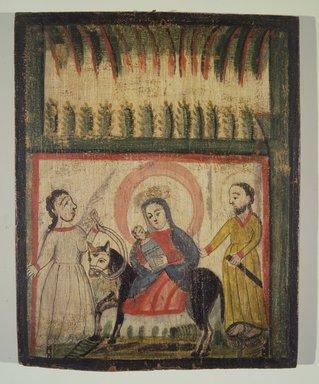 José Rafael Aragón (ca. 1795-1862). The Flight into Egypt, 19th century. Pine, gesso, water-based paints, 15 x 12in. (38.1 x 30.5cm). Brooklyn Museum, Ella C. Woodward Memorial Fund, 40.128