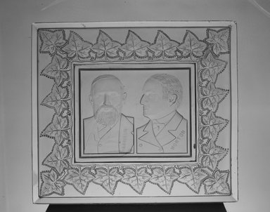 American. Tray or Plaque (Benjamin Harrison & Levi Morton), ca. 1889. Glass, 1 3/8 x 9 5/8 x 8 1/2 in. (3.5 x 24.4 x 21.6 cm). Brooklyn Museum, Gift of Mrs. William Greig Walker by subscription, 40.155. Creative Commons-BY