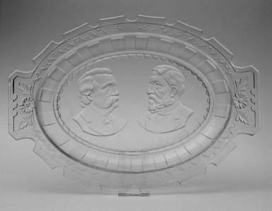 Platter (James Blaine & John Logan), ca. 1884. Glass, 1 1/2 x 13 x 9 1/4 in. (3.8 x 33 x 23.5 cm). Brooklyn Museum, Gift of Mrs. William Greig Walker by subscription, 40.157. Creative Commons-BY