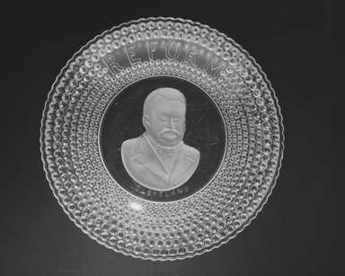 Plate (Grover Cleveland), 1884-1889. Glass, 1 1/8 x 10 1/8 x 10 1/8 in. (2.9 x 25.7 x 25.7 cm). Brooklyn Museum, Gift of Mrs. William Greig Walker by subscription, 40.159. Creative Commons-BY