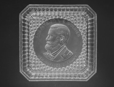 Plate (Ulysses S. Grant), 1885. Glass, 1 1/2 x 9 5/8 x 9 3/8 in. (3.8 x 24.4 x 23.8 cm). Brooklyn Museum, Gift of Mrs. William Greig Walker by subscription, 40.166. Creative Commons-BY