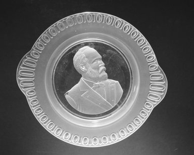 Plate (James Garfield), ca. 1881. Glass, 1 1/2 x 10 x 9 in. (3.8 x 25.4 x 22.9 cm). Brooklyn Museum, Gift of Mrs. William Greig Walker by subscription, 40.169. Creative Commons-BY