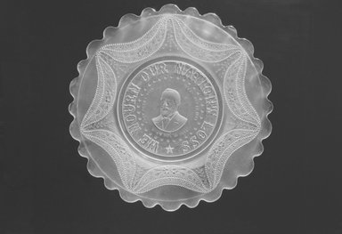 Plate (James Garfield), ca. 1881. Glass, 1/2 x 11 1/2 x 11 1/2 in. (1.3 x 29.2 x 29.2 cm). Brooklyn Museum, Gift of Mrs. William Greig Walker by subscription, 40.170. Creative Commons-BY