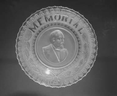 Plate (James Garfield), ca. 1881. Glass, 1 1/4 x 10 x 10 in. (3.2 x 25.4 x 25.4 cm). Brooklyn Museum, Gift of Mrs. William Greig Walker by subscription, 40.172. Creative Commons-BY