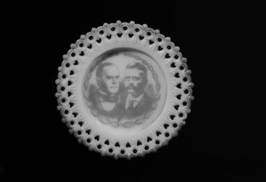 American. Plate (William McKinley & Theodore Roosevelt), 1901. Glass, 3/4 x 5 3/8 x 5 3/8 in. (1.9 x 13.7 x 13.7 cm). Brooklyn Museum, Gift of Mrs. William Greig Walker by subscription, 40.181. Creative Commons-BY
