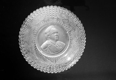 Plate (Henry Ward Beecher), ca. 1887. Glass, 1 3/8 x 9 1/4 x 9 1/4 in. (3.5 x 23.5 x 23.5 cm). Brooklyn Museum, Gift of Mrs. William Greig Walker by subscription, 40.186. Creative Commons-BY