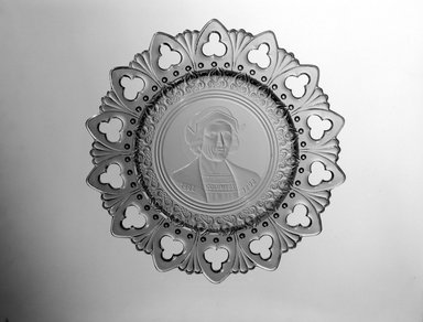 Plate (Christopher Columbus), ca. 1892. Glass, 1 1/4 x 9 3/4 x 9 3/4 in. (3.2 x 24.8 x 24.8 cm). Brooklyn Museum, Gift of Mrs. William Greig Walker by subscription, 40.196. Creative Commons-BY