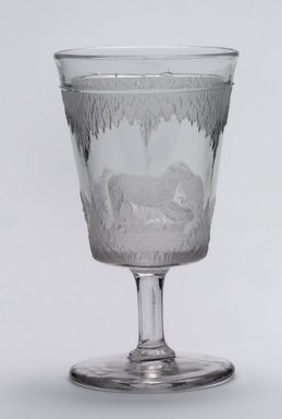 Crystal Glass Company, Bridgeport, Ohio. Goblet (Alaskan scene), 1867. Glass, 6 x 3 3/8 x 3 3/8 in. (15.2 x 8.6 x 8.6 cm). Brooklyn Museum, Gift of Mrs. William Greig Walker by subscription, 40.209b. Creative Commons-BY