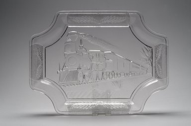 Platter (Train with Engine #350), ca. 1885. Glass, 1 x 12 x 8 7/8 in. (2.5 x 30.5 x 22.5 cm). Brooklyn Museum, Gift of Mrs. William Greig Walker by subscription, 40.210. Creative Commons-BY