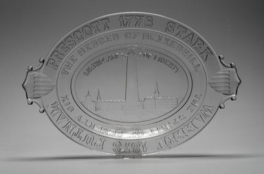 American. Platter (Bunker Hill Monument), 1876. Glass, 1 5/8 x 13 1/2 x 9 in. (4.1 x 34.3 x 22.9 cm). Brooklyn Museum, Gift of Mrs. William Greig Walker by subscription, 40.211. Creative Commons-BY