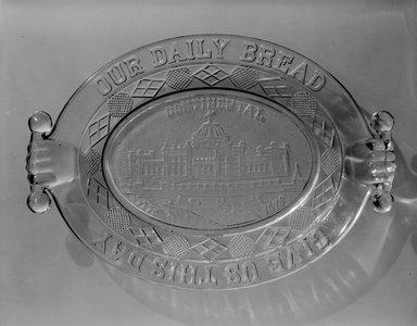 American. Bread Plate (Continental Hall), 1876. Glass, 2 1/8 x 12 7/8 x 9 in. (5.4 x 32.7 x 22.9 cm). Brooklyn Museum, Gift of Mrs. William Greig Walker by subscription, 40.212. Creative Commons-BY