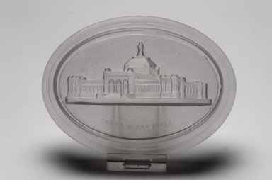 American. Paperweight (Memorial Hall from Centennial Exhibition), 1876. Glass, 1 x 5 3/8 x 4 in. (2.5 x 13.7 x 10.2 cm). Brooklyn Museum, Gift of Mrs. William Greig Walker by subscription, 40.218. Creative Commons-BY
