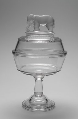 "Canton Glass Company (American, (1883-after 1999)). Bowl and Lid, ""Jumbo"" pattern, 1882. Glass, 12 x 7 1/8 x 7 1/8 in. (30.5 x 18.1 x 18.1 cm). Brooklyn Museum, Gift of Mrs. William Greig Walker by subscription, 40.225a-b. Creative Commons-BY"