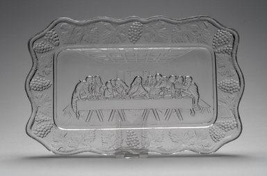 American. Plate (Leonardo DaVinci's Last Supper), late 19th century. Glass, 1 x 10 7/8 x 7 in. (2.5 x 27.6 x 17.8 cm). Brooklyn Museum, Gift of Mrs. William Greig Walker by subscription, 40.237. Creative Commons-BY