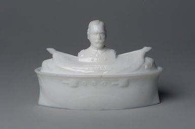 American. Covered Dish, Battleship with Admiral George Dewey, 1899. Glass, 4 1/4 x 6 5/8 x 3 in. (10.8 x 16.8 x 7.6 cm). Brooklyn Museum, Gift of Mrs. William Greig Walker by subscription, 40.260a-b. Creative Commons-BY