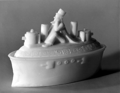 American. Covered Dish, Battleship with Uncle Sam, 1880. Glass, 4 3/4 x 3 x 6 5/8 in. (12.1 x 7.6 x 16.8 cm). Brooklyn Museum, Gift of Mrs. William Greig Walker by subscription, 40.261a-b. Creative Commons-BY