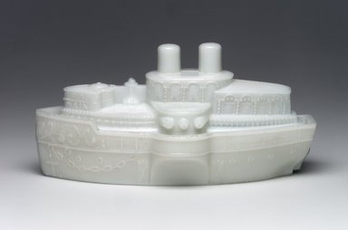 Covered Dish, U.S. Battleship Maine, ca. 1898. Glass, 3 3/4 x 7 3/4 x 4 1/8 in. (9.5 x 19.7 x 10.5 cm). Brooklyn Museum, Gift of Mrs. William Greig Walker by subscription, 40.265a-b. Creative Commons-BY