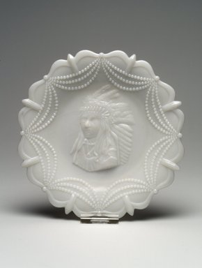 American. Plate (Native American Chief), late 19th century. Glass, 1 1/8 x 7 3/8 x 7 3/8 in. (2.9 x 18.7 x 18.7 cm). Brooklyn Museum, Gift of Mrs. William Greig Walker by subscription, 40.271. Creative Commons-BY