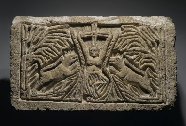 Coptic. The Martyrdom of St. Thekla, 6th century C.E., perhaps with modern reworking. Limestone, traces of paint, 13 3/16 x 23 1/4 x 5 5/16 in. (33.5 x 59 x 13.5 cm). Brooklyn Museum, Charles Edwin Wilbour Fund, 40.299. Creative Commons-BY