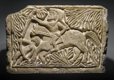 Coptic. St. Sissinios, 6th century C.E., perhaps with modern reworking. Limestone, 15 3/16 x 23 1/4 x 5 7/8 in. (38.5 x 59 x 15 cm). Brooklyn Museum, Charles Edwin Wilbour Fund, 40.300. Creative Commons-BY