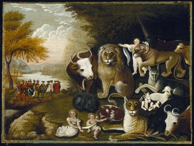 Edward Hicks (American, 1780-1849). The Peaceable Kingdom, ca. 1833-1834. Oil on canvas, 17 7/16 x 23 9/16 in. (44.3 x 59.8 cm). Brooklyn Museum, Dick S. Ramsay Fund, 40.340
