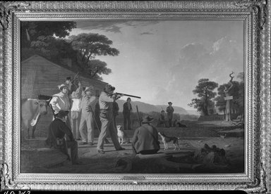 George Caleb Bingham (American, 1811-1879). Shooting for the Beef, 1850. Oil on canvas, 33 3/8 x 49 in. (84.8 x 124.5 cm). Brooklyn Museum, Dick S. Ramsay Fund, 40.342