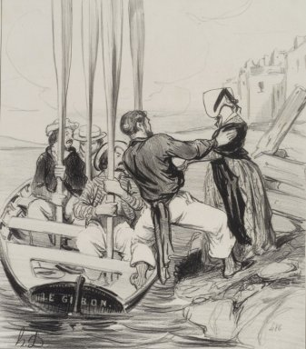 Honoré Daumier (French, 1808-1879). Embarkation of a Lady (Embarquement d'une dame), June 26, 1843. Lithograph on wove paper, Image: 9 1/2 x 8 5/16 in. (24.1 x 21.1 cm). Brooklyn Museum, Charles Stewart Smith Memorial Fund, 40.346