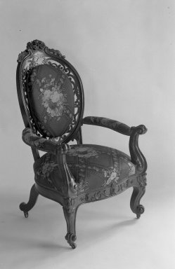 Charles H. White. Armchair, ca. 1855. Rosewood, modern upholstery (reupholstered April 1958), 43 x 26 1/2 x 21 1/2 in. (109.2 x 67.3 x 54.6 cm). Brooklyn Museum, Gift of Louise G. Zabriskie, 40.351.6. Creative Commons-BY