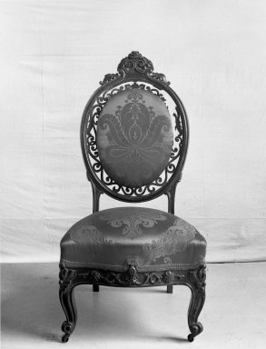 Charles H. White. Slipper Chair, ca. 1855. Rosewood, original upholstery, 42 1/2 x 21 x 18 1/2 in. (108 x 53.3 x 47 cm). Brooklyn Museum, Gift of Louise G. Zabriskie, 40.351.7. Creative Commons-BY