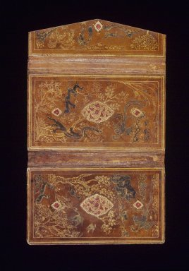 Bookbinding with Earthly and Mythical Creatures, 16th century. Paper, leather, opaque white watercolor, and gilding, 9 1/2 x 15 1/2 x 1/4 in. (24.1 x 39.4 x 0.6 cm). Brooklyn Museum, Gift of Mrs. George Dupont Pratt, 40.365. Creative Commons-BY