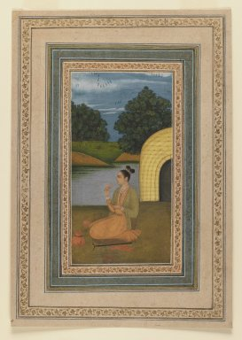 Indian. Yogini in a Landscape, ca. 1760. Opaque watercolor on paper, sheet: 11 3/8 x 7 7/8 in.  (28.9 x 20.0 cm). Brooklyn Museum, Gift of Mrs. George Dupont Pratt, 40.368