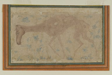 Indian. An Emaciated Horse, mid 17th century. Ink and light color wash on paper, sheet: 2 13/16 x 4 9/16 in. (7.1 x 11.6 cm). Brooklyn Museum, Gift of Mrs. George Dupont Pratt, 40.372