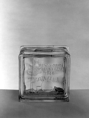 American. Bank (New York World's Fair), 1940. Glass, 1 3/4 x 3 1/4 x 3 1/4 in. (4.4 x 8.3 x 8.3 cm). Brooklyn Museum, Gift of Mrs. William Greig Walker, 40.376. Creative Commons-BY